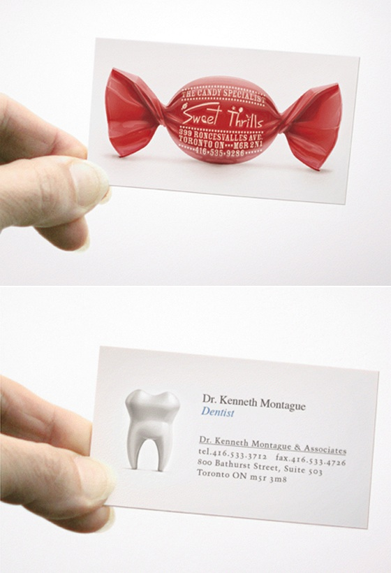 creative business cards for a dentist and a candy store