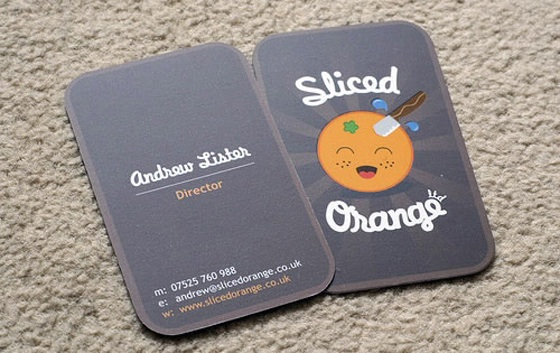 sliced orange business card